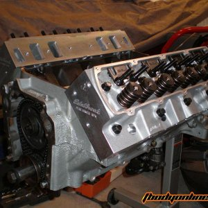 Beginning the Engine Build. Put on the Edelbrock RPM Performer Heads