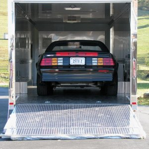 First time loading the Z in the car hauler in Oct. 2008.