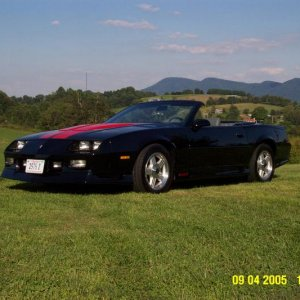 Camaro on the front lawn in 2005. Clinch Mountain in background.