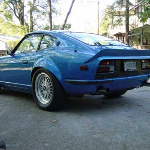 Blue 240 Z it has a 383 Chevy with a 400 shot of NOS it makes 900 HP this car is nuts